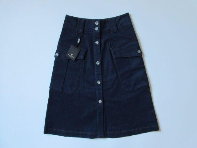 cc761d7419 NWT Massimo Dutti Button Front Dark Denim A-line Knee Length Jean Skirt 2 /