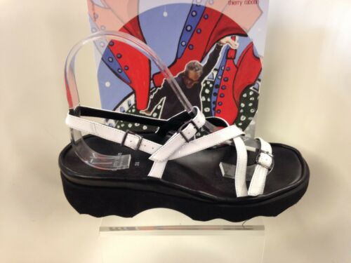 Thierry Rabotin Wave White Patent Leather Comfort Sandal Women's Sizes 3642NEW
