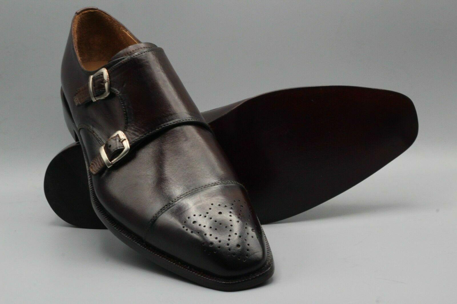 più economico Fatto a mano in pelle Marronee doppio Monaco Oxford Brogue Brogue Brogue Toe Cap Scarpe per uomo  l'intera rete più bassa