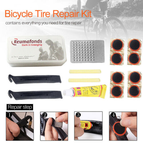 Bike Bicycle Flat Tire Tyre Repair Tool Kit Rubber Patch Glue Lever Fix Sets JP