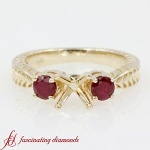 Half-Carat-Round-Ruby-Gemstone-Vintage-Engraved-3-Stone-Engagement-Ring-Settings
