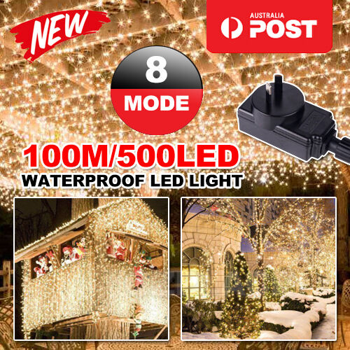 OZ 500LED 100M Warm White Fairy Christmas String Lights Wedding Party Garden SAA