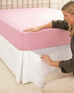 Box pleat elasticated bed valance ebay for Divan valance wrap