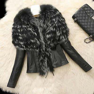 Women's Warm Winter Fur Collar Coat Leather Cotton Jacket Overcoat Outwear Parka