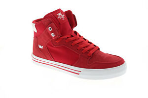 Supra-Vaider-08044-655-M-Mens-Red-High-Top-Lace-Up-Athletic-Surf-Skate-Shoes