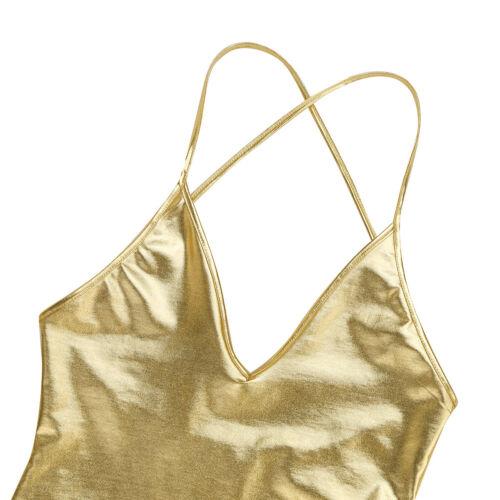 Damen Body elastisch Wetlook Bodysuit Unterhemd Tief V-Ausschnitt Ballettanzug