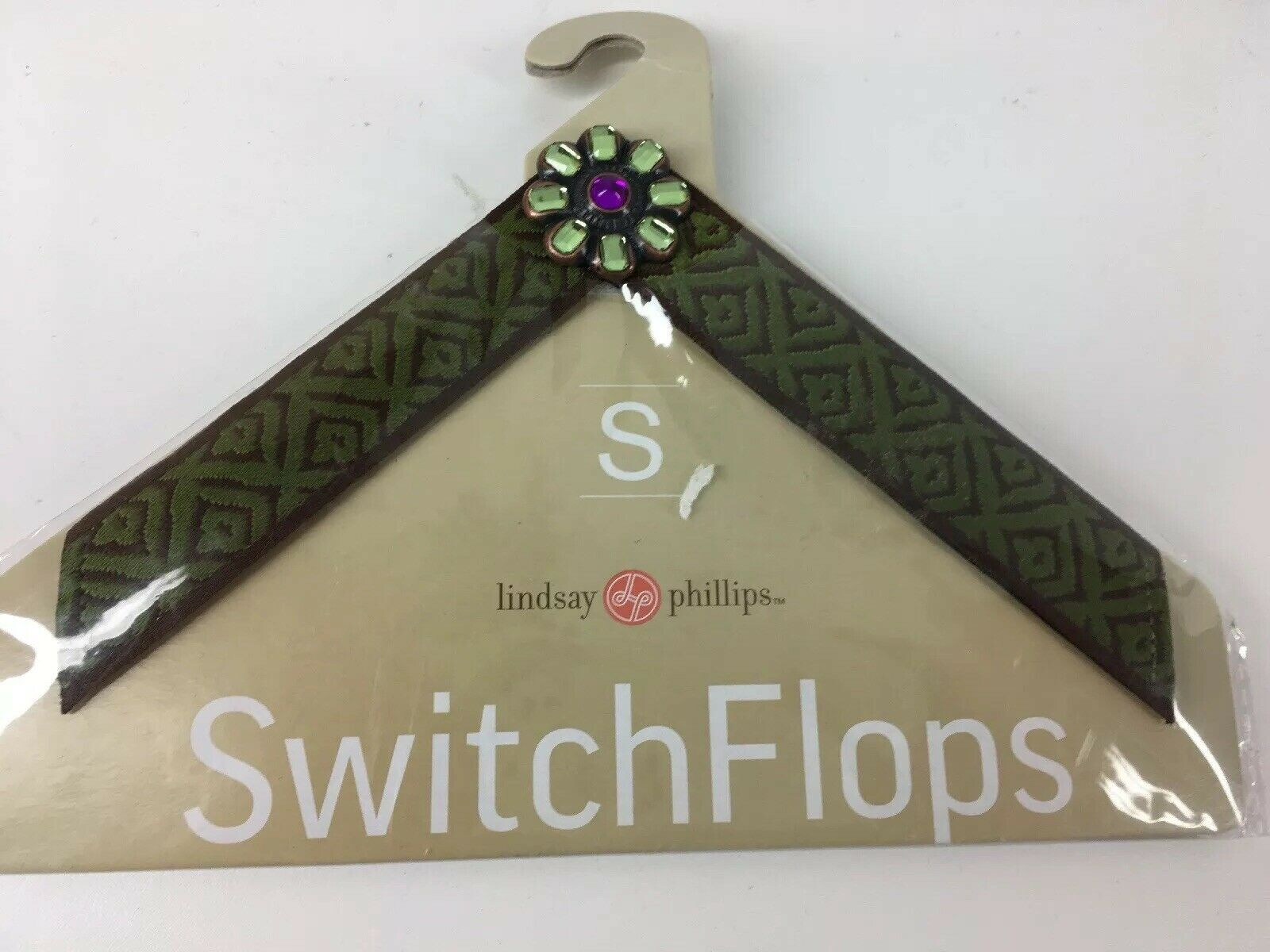 LINDSAY PHILLIPS INTERCHANGEABLE STRAPS SWITCHFLOPS Small 5/6 Green