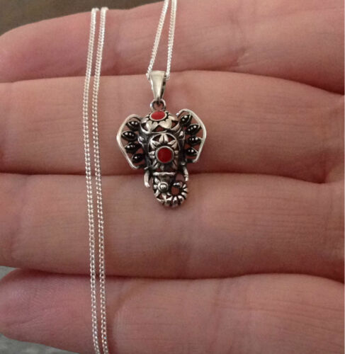 925 Sterling Silver Elephant Necklace or Pendant Red Gift Present