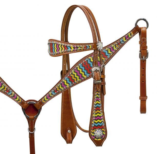 mostrareuomo Leather Bridle & Breast Collar Set w Rainbow Chevron & Rhinestones  nuovo