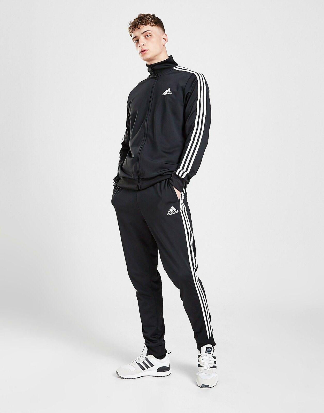 Men's Adidas Tracksuit Set Bottoms Full Zip Jacket Black Trousers Pants M L XL