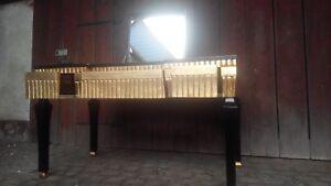 Coiffeuse bureau de dame avec miroir noir doré à la feuille dor
