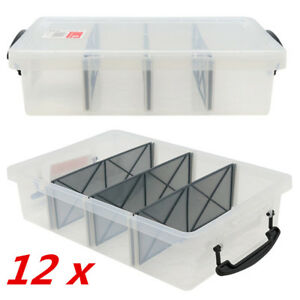 12 X 6l Clear Plastic Storage Box With Removable Dividers Containers