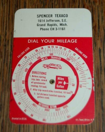 VINTAGE SPENCER TEXACO GRAND RAPIDS MI GAS STATION OIL ADVERTISING MPG DIAL
