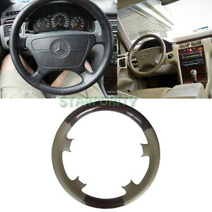 Leather wood steering wheel cover for mercedes 95 99 w210 for Mercedes benz wood steering wheel