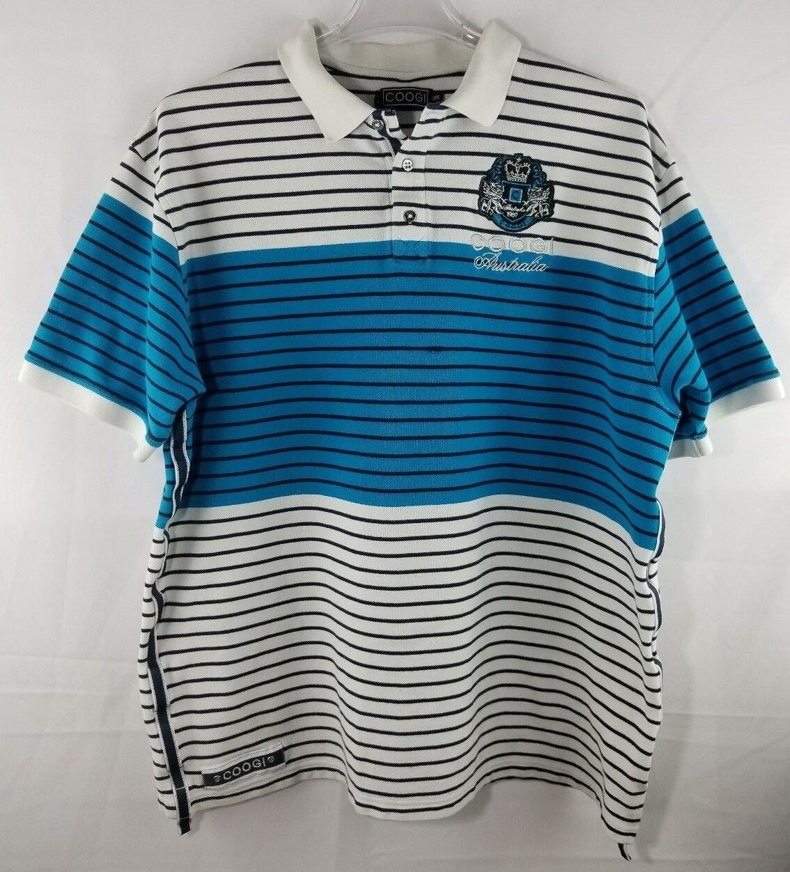 8ca1580d Coogi Mens Polo Pique Stripped Embroidered Badge White bluee Size 3XL