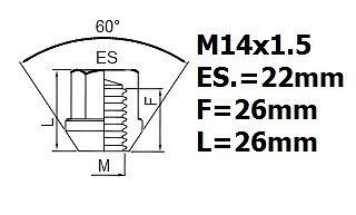 Tesla Model S 2012-on wheel locking nuts M14x1,5 anti-theft for alloys set of 4