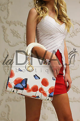 Luxus Henkel Tasche BUTTERFLY weiß rot mit Anhänger Lederoptik Bag ღƸ̵̡Ӝ̵̨̄Ʒღ