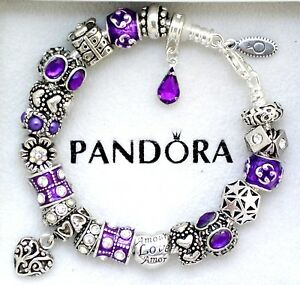 Image Is Loading Authentic Pandora Charm Bracelet Purple Heart Love Gift