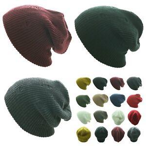 Men Women Crochet Vintage Knit Oversize Baggy Beanie Cap Slouch Ski Winter Hat