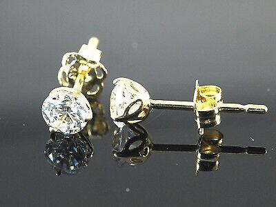 585 Gold kleine Ohrstecker mit Tulpenfassung  4,2 mm 1 Paar mit Zirkonia Steinen