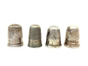 Mixed-Vintage-Lot-Sterling-amp-Silverplate-Marked-6-9-Sewing-Thimbles-Accessories