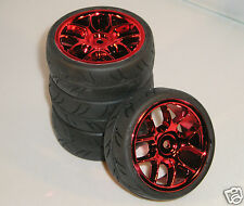 DYNH1720 RC Car Wheels & Tyres 1:10 12mm Hex 10 Spoke Red Chrome Tamiya HPI BSD