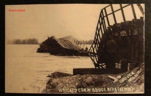 SOUTH DAKOTA WRECKED C /& N BRIDGE FREMONT W Photograph