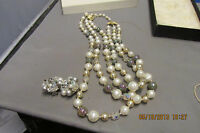 Vintage Costume Jewelry Set of Beaded Necklace & Earrings   No Res   WOW!!!