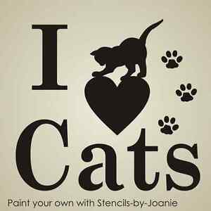 Image Is Loading Pet Stencil I Love Cats Paw Print Playful