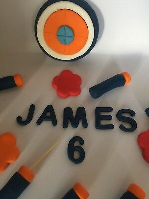 Terrific Handmade Birthday Cake Topper Edible Nerf Gun Bullets Target And Funny Birthday Cards Online Alyptdamsfinfo