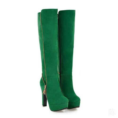 Details about  /Ladies Suede Fabric Platform High Heel Side Zip Knee High Dress Boots Cosplay US