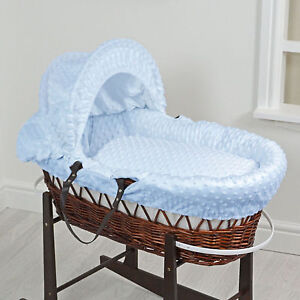 Bassinets & Cradles Dependable Dark Wicker Dimple Moses Basket With Mattress And Bedding Blue