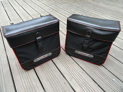 Sacoches made in France,vintage,noir-rouge,vélo,solex,mobylette,peugeot…NOS!!