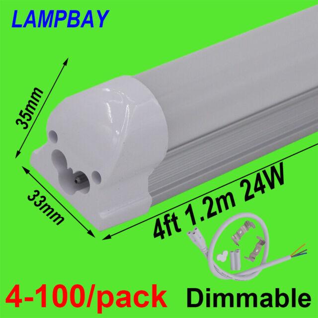"4-100/pack Dimmable LED Tube Light 4ft, 48"" 1.2m 20W 24W Bar Lamp 4 Feet Fixture"