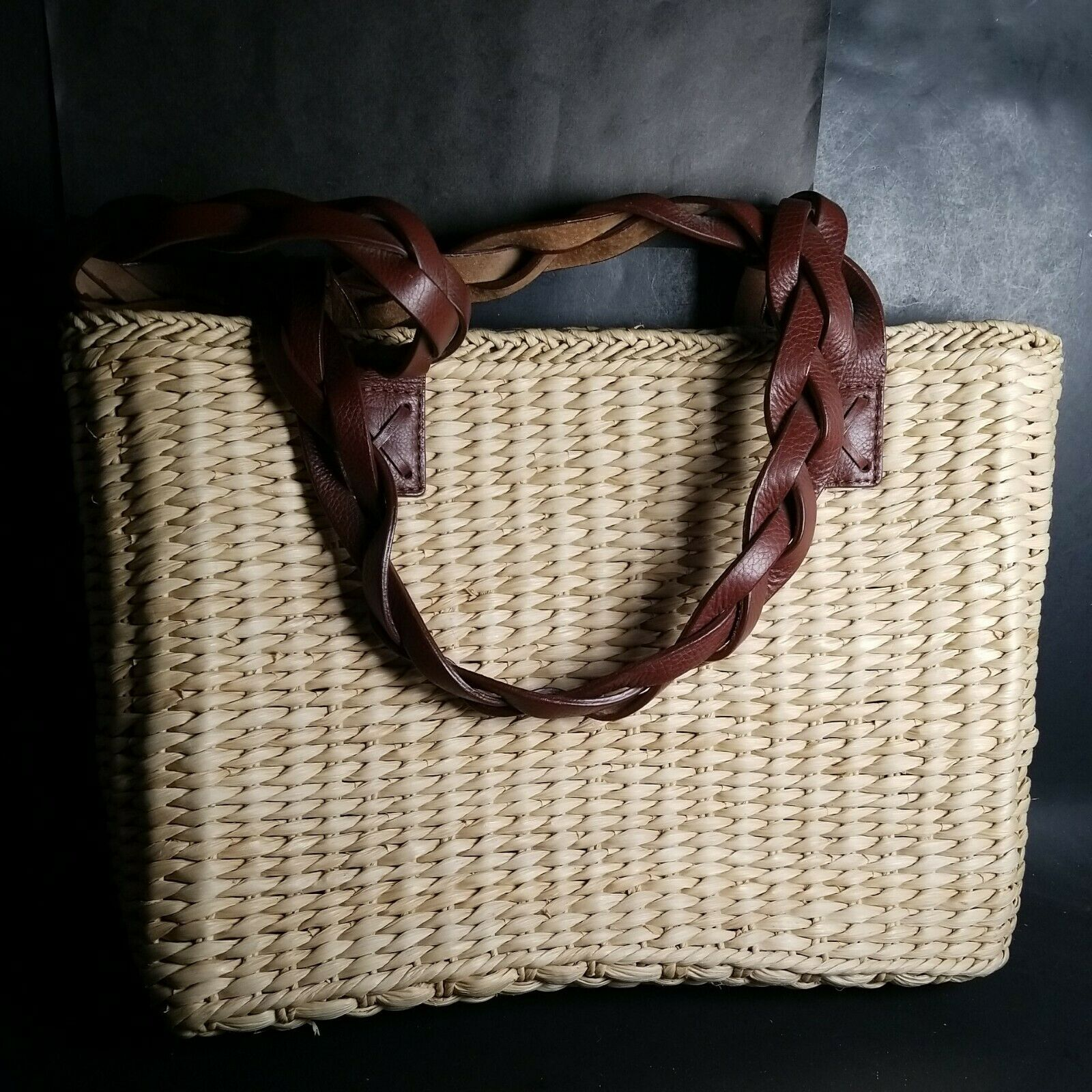 The Walking Co Company Bag Leather Cornhusk Wicker Purse Tote 11