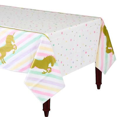 Unicorn Sparkle Pink cubierta de tabla Chica Mágica Fiesta De Cumpleaños Vajilla de plástico