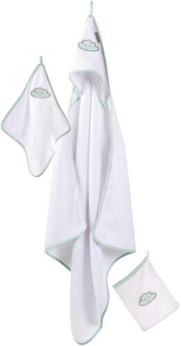 roba Waschset 3-tlg Kapuzenbadetuch Handtuch Waschhandschuh