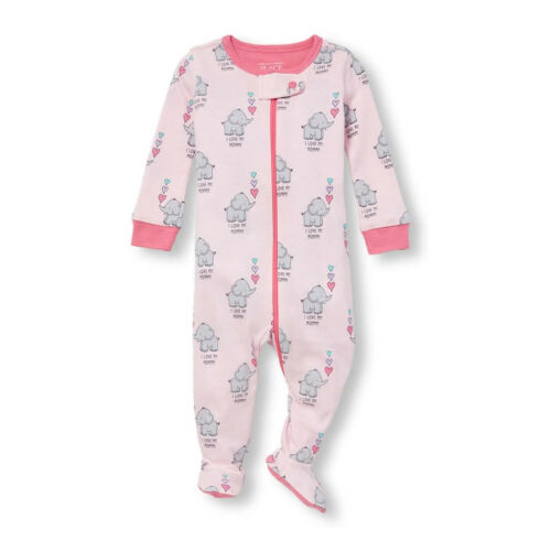 NWT The Childrens Place Elephant Girls Stretchie Footed Sleeper Pajamas 2 3 4 5
