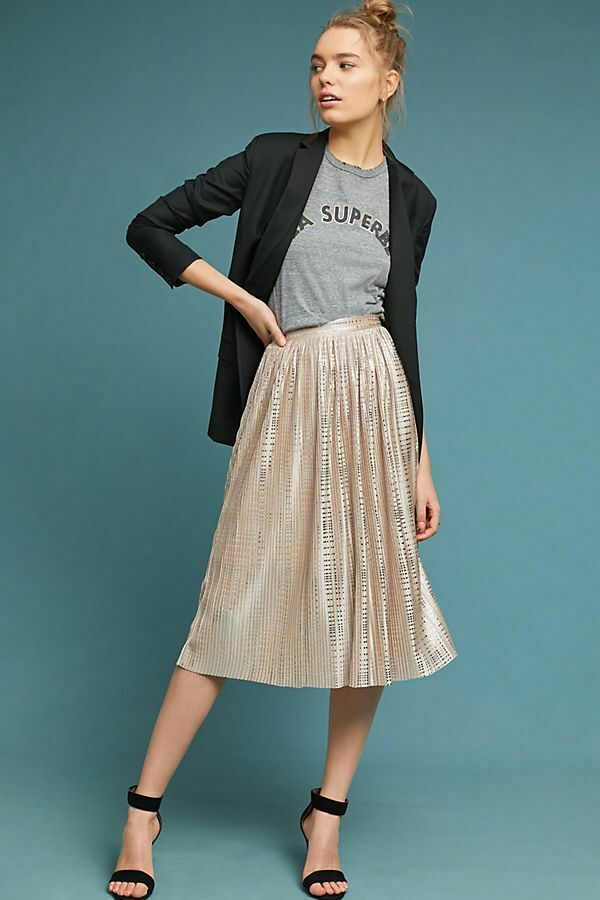 NWT ANTHROPOLOGIE SABINA MUSAYEV CASSIA PLEATED FOIL SHINE MIDI SKIRT NUDE 16 XL