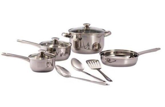 Mainstays 10-Piece Cookware Set, acier inoxydable antiadhésif neuf livraison gratuite