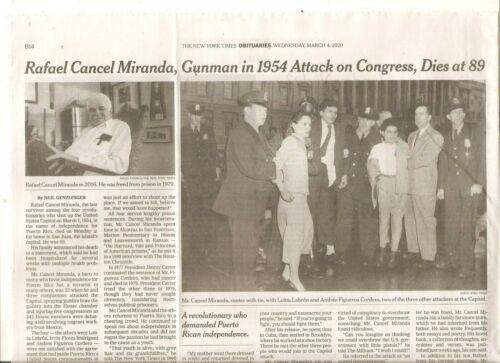 Rafael Cancel Miranda 89 Obituary New York Times Puerto Rican 1954 Congress