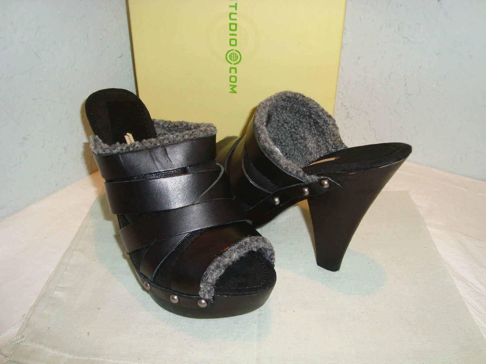 Max Studio New Donna Aura Nero Open Toe Clogs Shoes 7.5 M Shoes