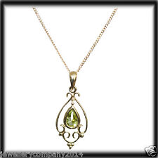9ct Solid GOLD victorian style pear shape Peridot pendant & 9ct gold chain