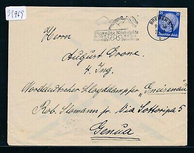 FleißIg 31969) Olympiade 1936, Werbestempel Garmisch > K1 Bremen 5 Brf An Ndl Italien