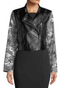 RACHEL ROY NWT $139 Charlie Moto Jacket in Gray Floral & Black, Size M     BB32