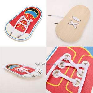 Kids-Early-Montessori-Educational-Toy-Children-Toddler-Wooden-Lacing-Shoes-New