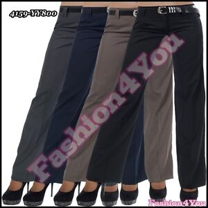 Sexy-Women-039-s-Pants-Office-Ladies-Trousers-Bootcut-Belt-Size-6-8-10-12-14-16-UK