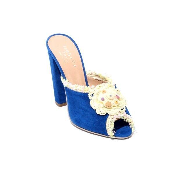 Isabelle 80b ante azul marino Cuero Grueso talón se se se Desliza Sandalias 37.5 US 7.5  precios mas bajos