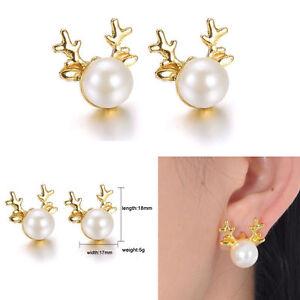 NEW-Xmas-Gift-Rhinestone-Pierced-Christmas-Pearl-Deer-Earrings-Ear-Stud-Fashion