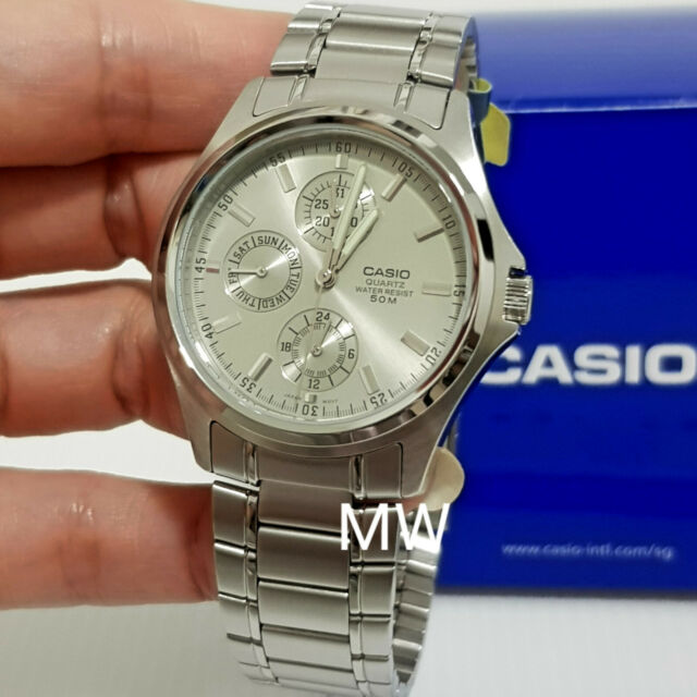 Casio MTP1246D-7A Mens Grey Dial Analog Stainless Steel Casual Dress Watch NEW